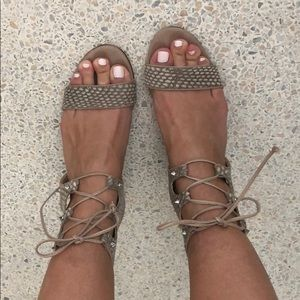 Schutz lace up stacked heel sandal